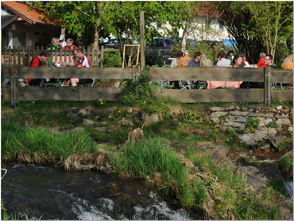 Our Beer Garden just beneath the small cascade of creek Otterbach